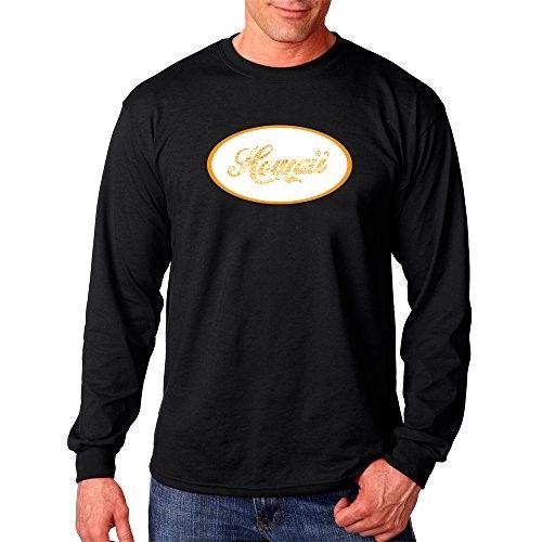 Men's Long Sleeve T-shirt - Hawaiian Island Names & Imagery - Black - XXX - Large, Size: XXXL