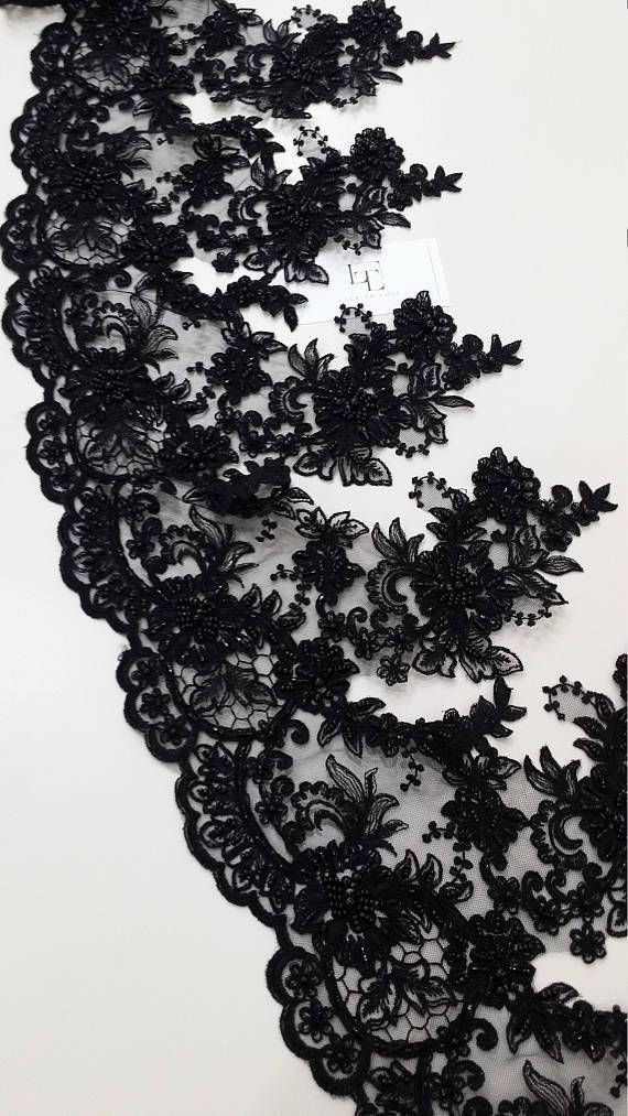 Beaded black lace trimming Sequin lace Pearl lace Chantilly