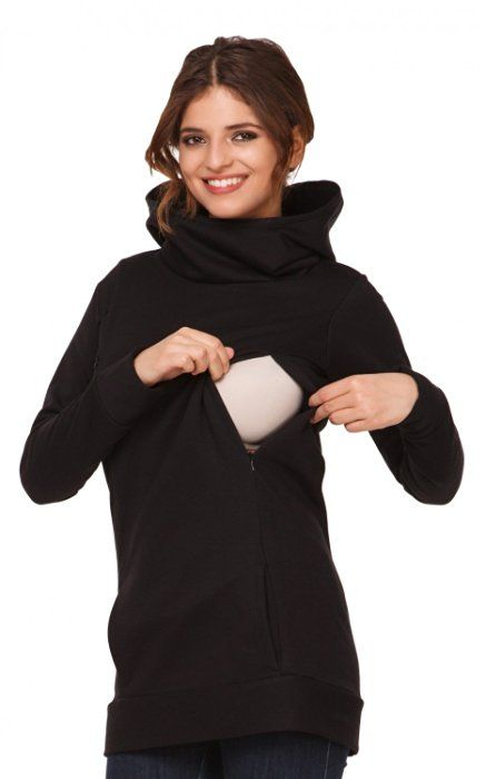 Happy Mama. Womens Maternity Nursing Hoodie Top Sweatshirt Kangaroo Pocket. 053p (Black, US 8/10, XL)