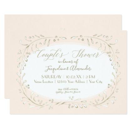 Couples Shower Modern Watercolor Wreath Foliage Card - wedding invitations diy cyo special idea personalize card
