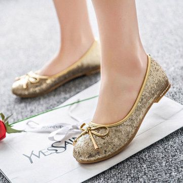 Sequin Bowknot Casual Slip On Round Toe Flats For Women - US$17.99