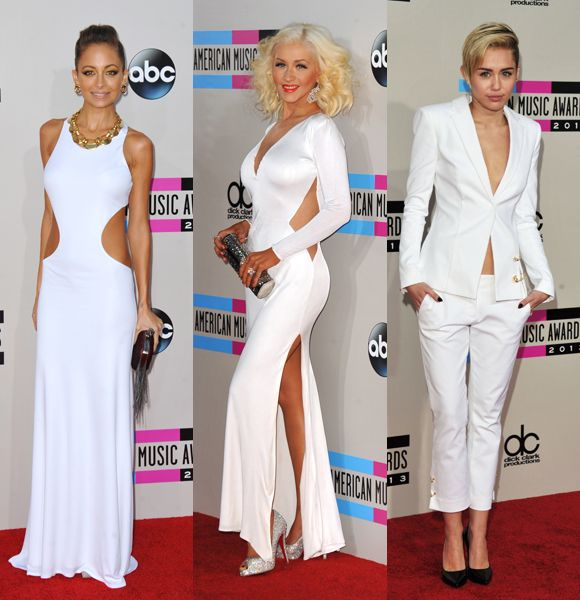 White NightWhite was the right choice for a slew of stars as they hit the red carpet at the 2013 American Music Awards. Miley Cyrus covered herself up (well, mostly) in a Versus Versace white suit, Nicole Richie showed off her taught midsection in a cut-out Emilio Pucci gown, and Christina Aguilera brought some glamour -- and flaunted her recent weight loss -- in a dress by Maria Lucia Hohan.