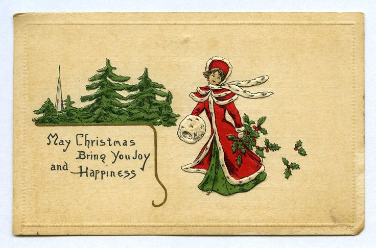 May Christmas Bring You Joy and Happiness, c. 1913. Postcards are a great source for ladies period clothing! @KentCoHistory