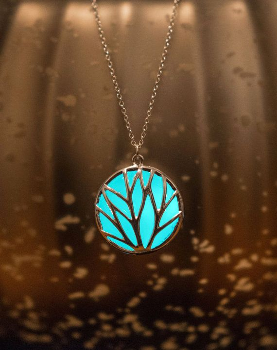 Glowing Jewelry - Frozen Forest - Aqua Glow Necklace - Glow in the Dark Necklace - Circle of Nature  - Glowing Necklace - Gifts for Her