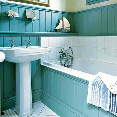 Paintable cellular PVC beadboard shrugs off water, making it a smart choice for a tub surround. 5-inch sticks, similar to shown, about $15.10 per sq. ft., Fypon beadboard