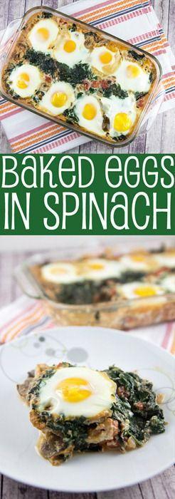 Baked Eggs in Spinach: eat your veggies for breakfast. {Bunsen Burner Bakery}