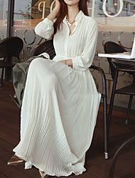 Vestito Da donna Maxi Manica lunga Elastene/Poliestere