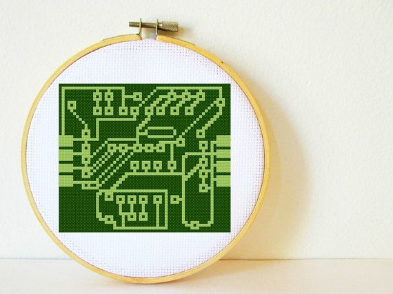 Cross stitch Pattern PDF. Instant download. Circuit Board. Includes easy beginners instructions.