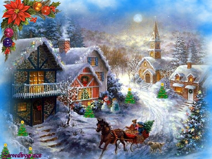 old fashioned christmas town wallpaper - photo #9