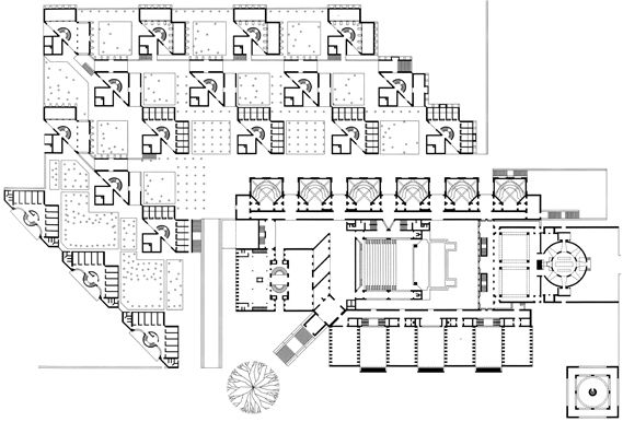 Louis Kahn and others: Site plan of Indian Institute of Management , 1962-1974, Ahmedabad