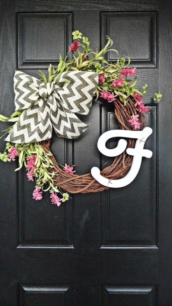 Spring and Summer Pink and Green Wildflower Wreath With Gray Chevron Bow and Cursive White Letter Monogram, Spring Monogram Wreath