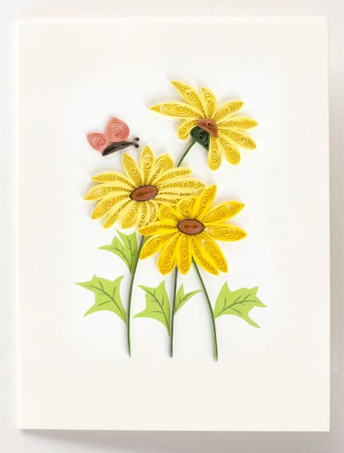 """Quilled yellow daisies with butterfly gift enclosure - 2.5"""" x 3.5"""""""