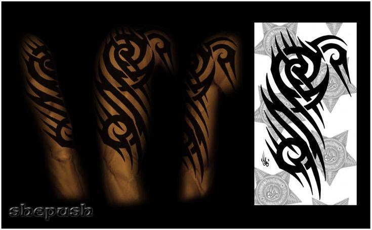 Half sleeve tribal  color by shepush.deviantart.com