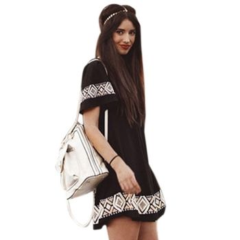 Women Fashion Casual Loose Round Neck Short Sleeve Geometric Pattern A-Line Boho Short Dress