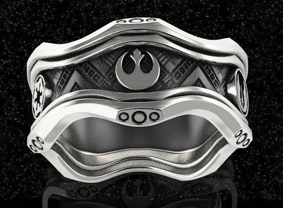 Star wars ring geek wedding ring star wars jewelry sci fi