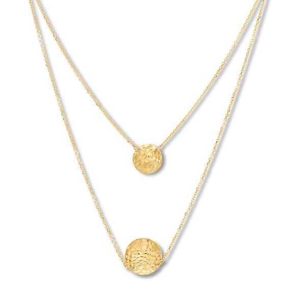Textured Disc Layered Necklace 10k Yellow Gold 17 Length Jared In 2021 Gemstones Jewelry Necklace Layered Necklaces Necklace