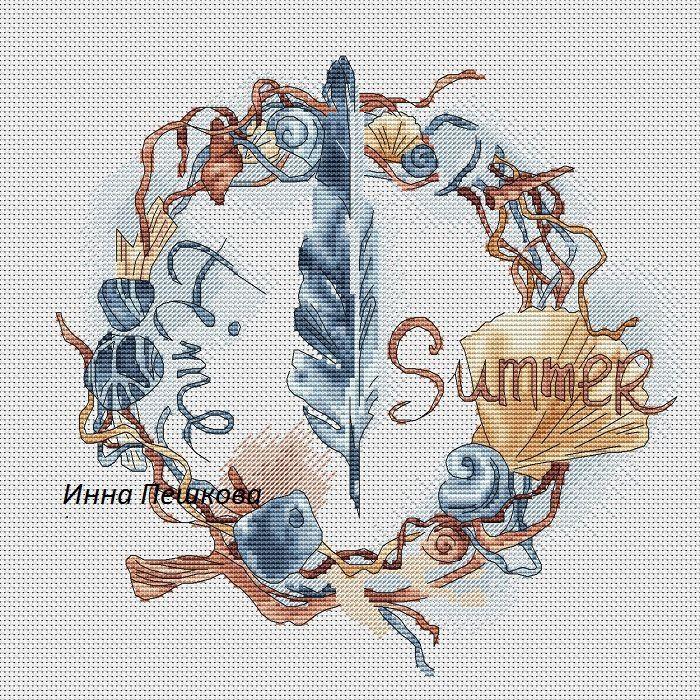 Gallery.ru / Морской венок, триптих Море. - Платные схемы - Avrora-vishivka