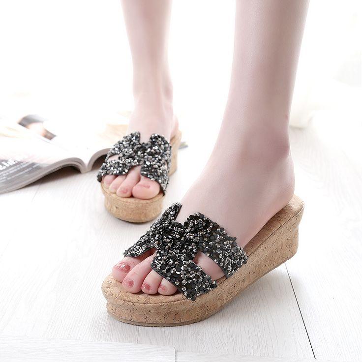 Rhinestone Women Sandals High-Heeled Slippers Plus Size 40-43 Platform Shoes Casual Schoenen Vrouw Gladiator Sandals