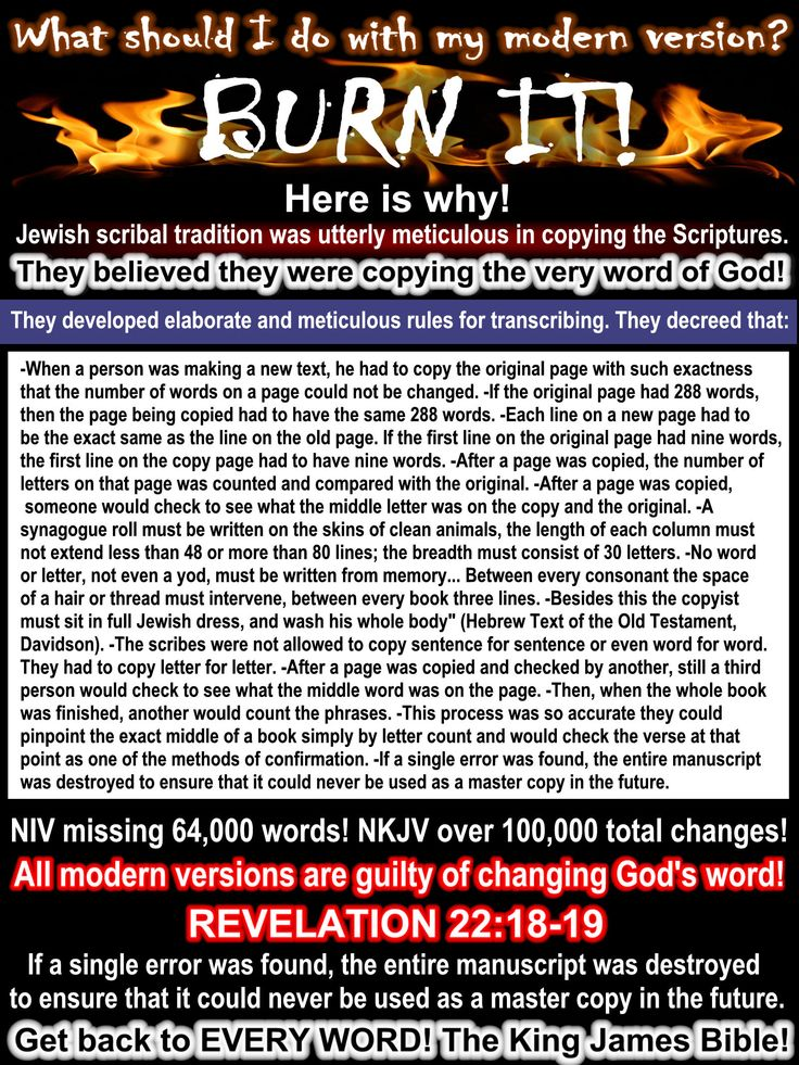 The scribes that copied the originals would burn today's modern versions! Get back to the King James Bible.