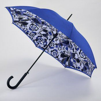 This is an elegant, stunning, and beautiful umbrella. This umbrella has a double canopy - which means a top and a bottom cover which covers the ribs of the umbrella. The outer canopy is blue and the inner canopy is mix of colours including black white and blue in a retro floral pattern. This fabulous umbrella also has an automatic opening mechanism