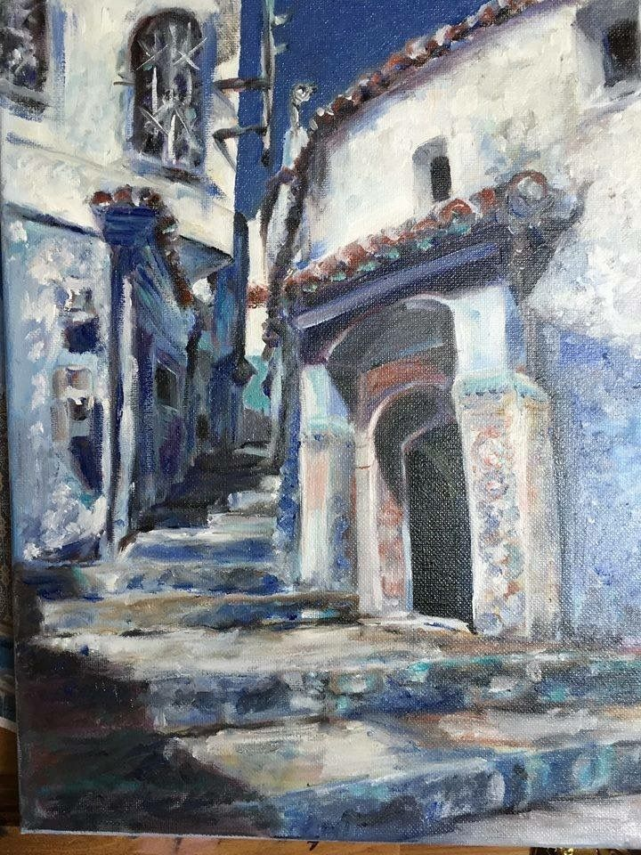 Morocco. Landscape.  Oil painting. Art