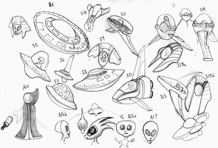 Concept design for an alien and spaceship used in a screensaver project