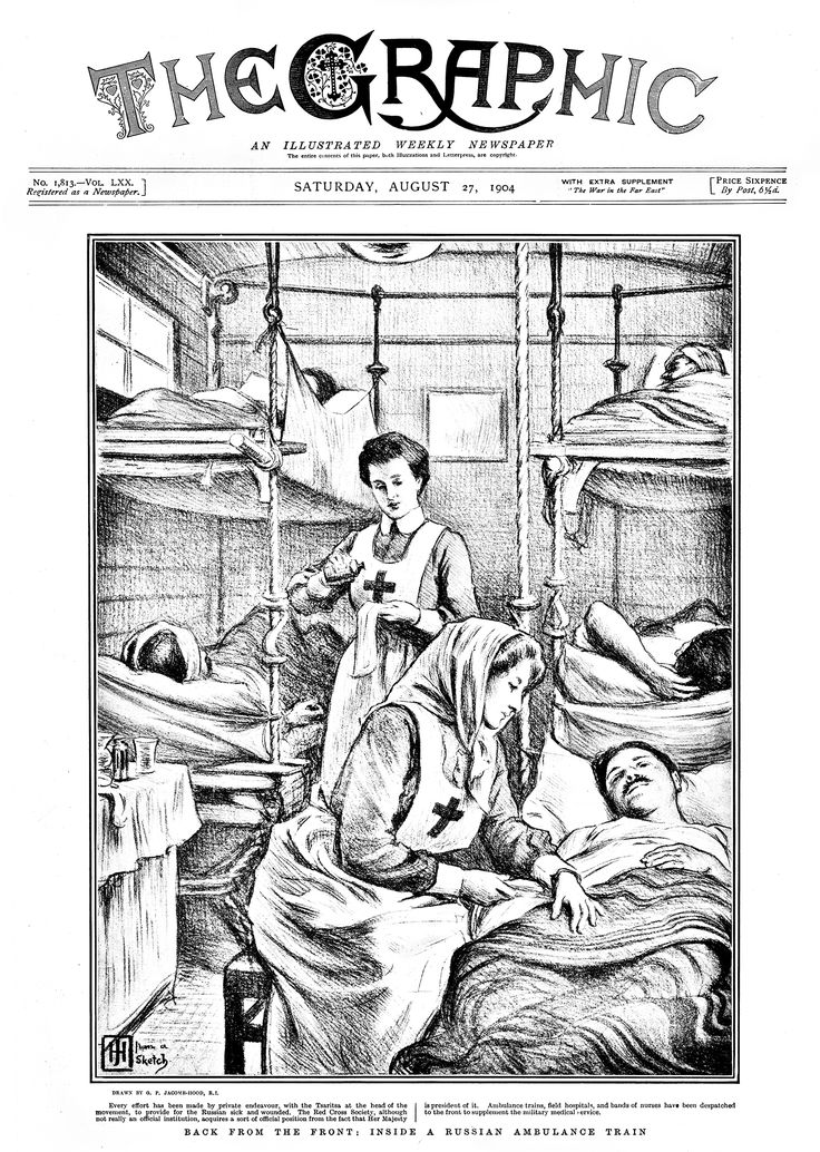 """Back from the front, 1904. Illustration of the inside of a Russian ambulance train (during the Russo-Japanese War) drawn by George Percy Jacomb-Hood. The image appeared on the cover of the August 27, 1904 issue of """"The Graphic,"""" a British weekly illustrated newspaper. NLM Image ID: C05589. #colorourcollections Download the NLM coloring book featuring Images from the History of Medicine."""