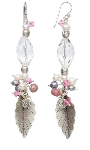 Earrings with Swarovski Crystal Beads, Cultured Freshwater Pearls and Sterling Silver Drops