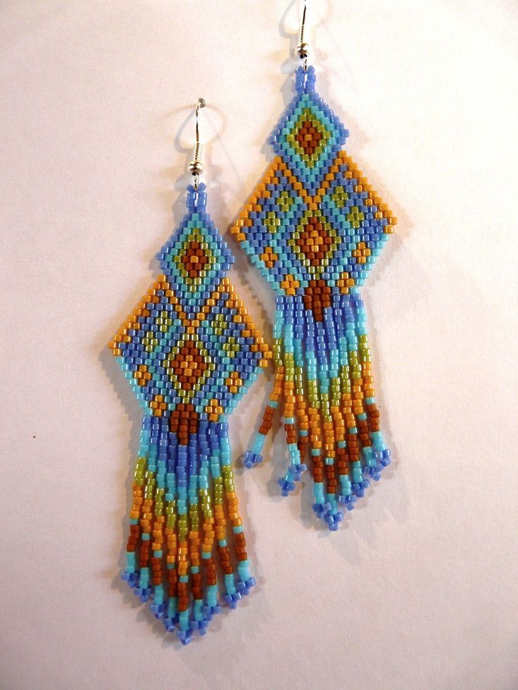 earrings earring catchers bead brick patterns stitch pinterest seed pin dream