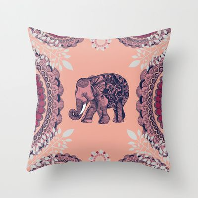 Bohemian Elephant  Throw Pillow by Rskinner1122 - $20.00