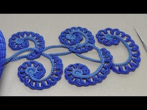 Урок вязания крючком. ЗАВИТОК с витыми столбиками.Howto Crochet Irich lace leafe. - YouTube