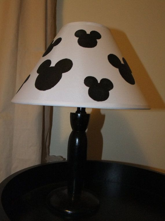 Plain lamp and add on Mickey Mouse or Minnie Mouse things into it, I'd add some red for him and pink for her<3