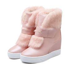 Теплый искусственного меха водонепроницаемый снега сапоги женщины зимняя мода дамы ботильоны большой размер белый бежевый розовый цвет dropshipping(China (Mainland))