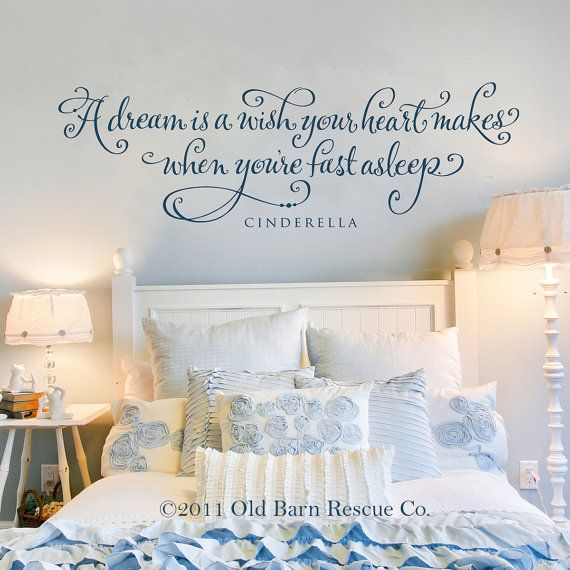 A dream is a wish your heart makes - hand lettered vinyl wall decal #OBRC