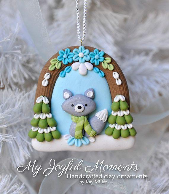 Handcrafted Polymer Clay Winter Fox Scene by MyJoyfulMoments