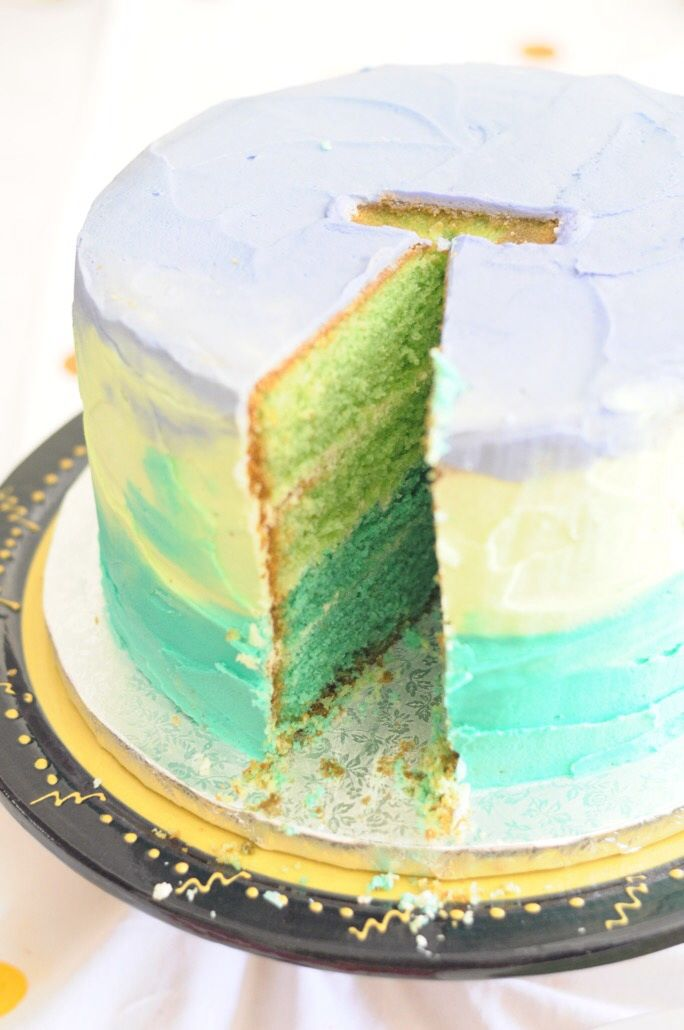 Ombre cake for a 16th birthday. Yummy inside and out!