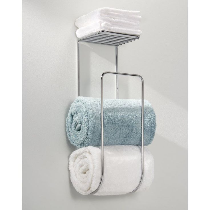Wall Mounted Towel Rack Bathroom Hotel Rail Holder Storage Shelf Chrome Bath