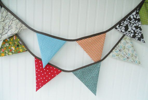 WOODLAND BUNTING Fabric Flags Banner by MariaClaireInteriors