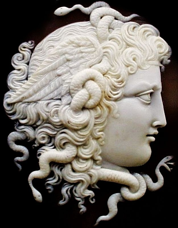 Sardonyx cameo pin of the Gorgon Medusa, England, ca.1880