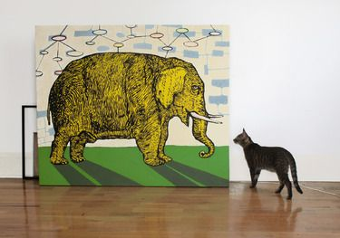 "Artist chileno Sebastian Vargas; ""elefante amarillo"", en 100 curators collections"