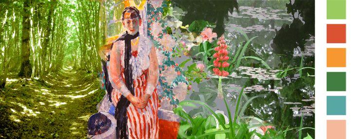 impressionismeGeïnspireerd op de tuinen van de Franse impressionist Claude Monet in Giverny. De lichtval die per uur verandert vormt de inspiratie op het afwisselende zonnige kleurpalet van bosgroenen en gelen met accenten van zacht rood en lichtoranje.