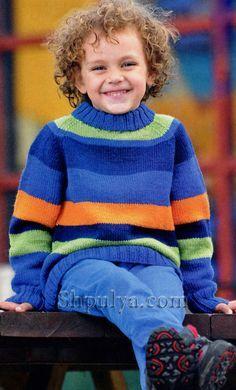 Полосатый свитер с рукавом реглан для мальчика