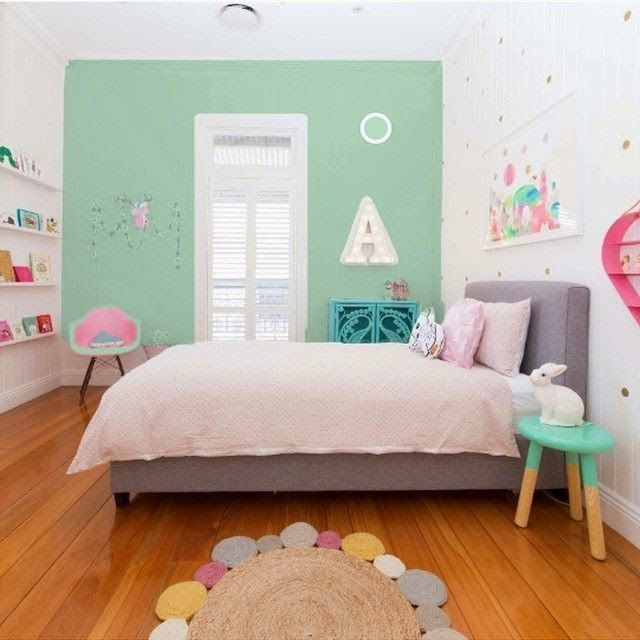 Love this room, the colours, the dipped side table, the book shelves and cane bedside. Fro =m the boo and the boy: kids' rooms on instagram
