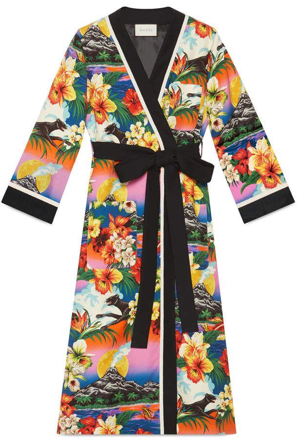 a377e984ab4 Hawaiian print silk kimono | FASHION ELEGANCE | Silk kimono, Gucci ...