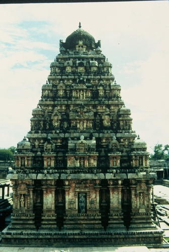 The Great Living Chola Temples were built by kings of the Chola Empire, which stretched over all of south India and the neighbouring islands. The site includes three great 11th- and 12th-century Temples: the Brihadisvara Temple at Thanjavur, the Brihadisvara Temple at Gangaikondacholisvaram and the Airavatesvara Temple at Darasuram. The Temple of Gangaikondacholisvaram, built by Rajendra I, was completed in 1035.