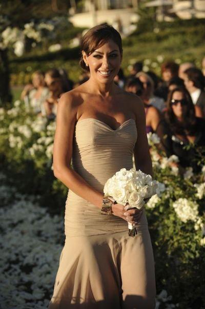 long beige / nude bridesmaid dress