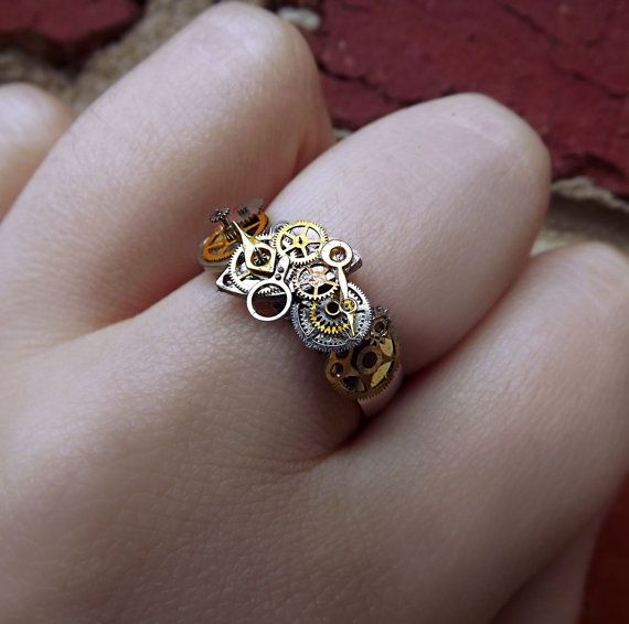 Steampunk ring stainless steel unisex by CindersJewelryDesign, $40.00