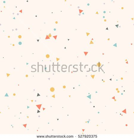 Abstract seamless pattern with colorful blue, gray, yellow, orange chaotic small circles and triangles on beige. Infinity geometric pattern. Vector illustration.
