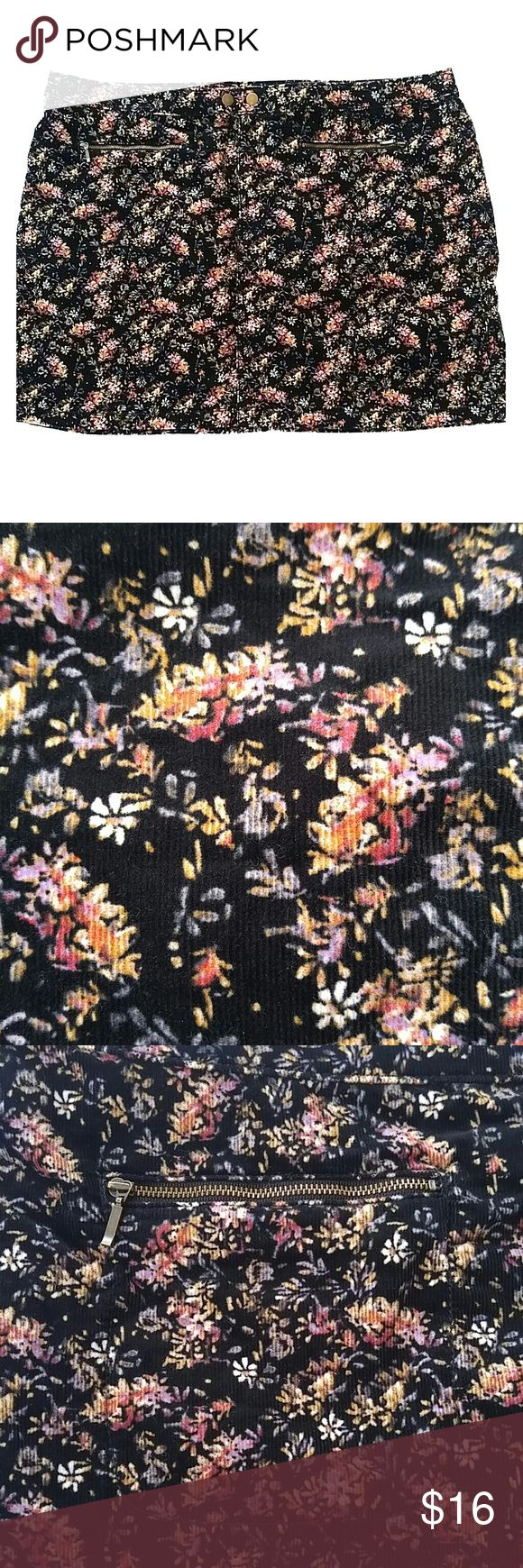 "Floral skirt Black with multicolor flowers. Two real zipper pockets in front. Approx. 20"" flat waist and 17"" length. 98% cotton 2% spandex.  Thick like cordoury & soft like crushed velvet.  Size 18. Mossimo Supply Co. Skirts"