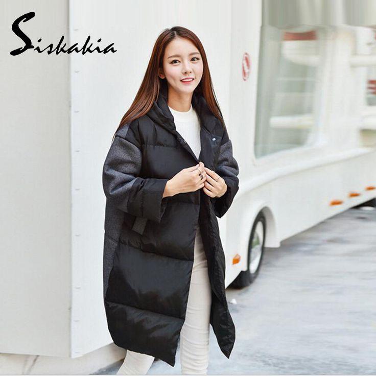 2016 New Women Winter Down Cotton Coat  Outerwear Down Parkas Jacket Female Girls Warm long OverCoat Spliced Big size Coat